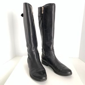 Tommy Hilfiger Black Leather Knee High Riding Boot